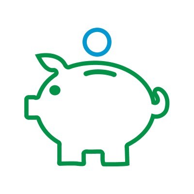 coin above piggy bank