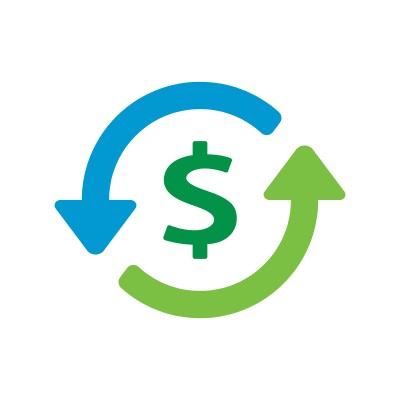 two curved arrows around a dollar symbol